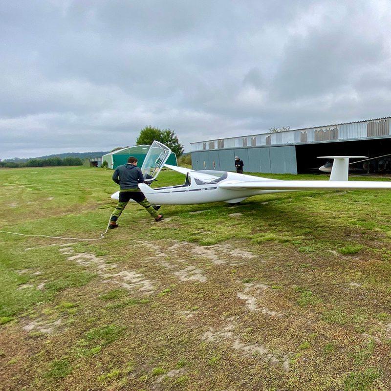 Glider being prepared